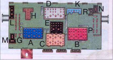 Монтажный блок предохранителей и реле (вид снизу).  А - контактный разъем жгута проводов комбинации приборов (синий)...